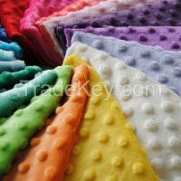 100% Polyester 26 Colors Dimple Design Minky Dot Fabric for Baby