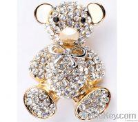 rhinestone bear brooch gold
