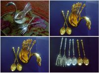 silver-plated Swan shape tray and spoons