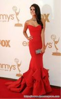High Quality Elegant Red Sweetheart Mermaid Floor Length  Satin Evening dress Party dress