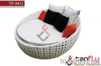 TF-9411White rattan sofa bed/wicker bed lounger