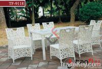 TF-9118White patio rattan dining set
