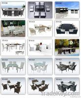 Rattan restaurant dining table set