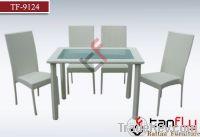 TF-9124 White PE wicker dining set