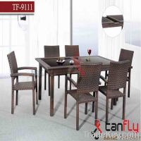 contemperary rattan table and chair