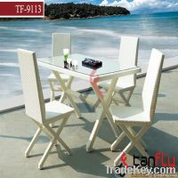 Square wicker table and chair