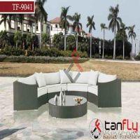 semi-circle wicker rattan garden sofa set