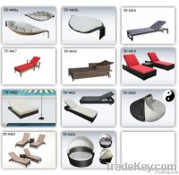 wicker rattan chaise sun lounge