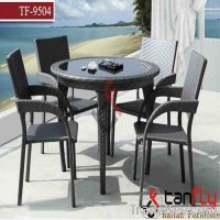 Restaurant wicekr rattan cafe table bistro set