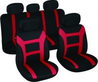 Universal Fit 9pcs Full Set polyester Fabric Car Seat Cover, red ( Fit Most Car, Truck, or Van)