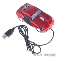 PC Laptop 800dpi 3D Optical USB Car Shape Mouse Red