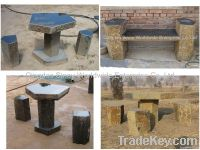 natural black basalt bench and chair