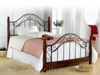 Malaysia Metal And Rubber Wood Post Queen Bed