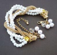 hollow gold pearl sweetie charm bracelet