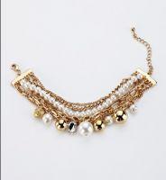white pearl fashion charm bracelet