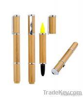 Promotional Bamboo Led/Laser Highlighter Ball Pen