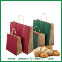 Recycled kraft paper shopping bag with recycled paper handle taking away bag