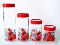 Glass storage food jar with plastic lid