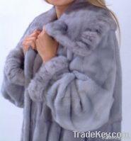 Blue Full Pelt Mink Fur Coat, Women Full Long Coat