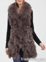 Chic genuine sheep skin and fox fur vest