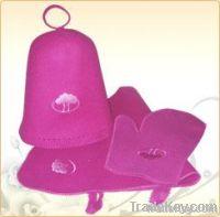wool felt sauna hat and kit