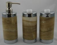 4-PC 100% natural stone bathroom sets soap dishes
