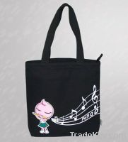Black Cotton Canvas Tote Bag For Promotion