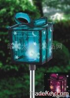 The solar lamp with Christmas box edge of insert plane