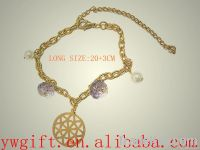 fashion gold plating alloy crystallized crystal chain bracelet for lad