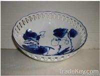 Blue and white porcelain, Chinese ceramics, sculpture, fruit dish bowl