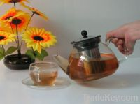 glass teapot with strainers