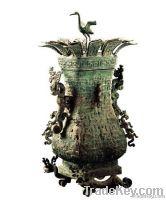 Bronze Lotus Crane Square Hu