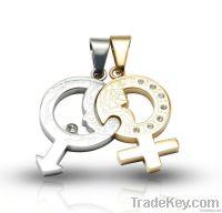 stainless steel couple pendant