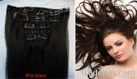 """15""""Lx32"""" 7 pcs Clips-on Human Hair Extensions wigs #1B, 7�0g Black"""