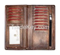 Hand Painted Leather Checkbook Cover Long Wallet