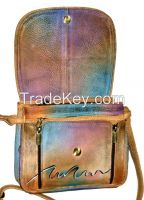 Hand Painted Leather Organizer Handbag Shoulder Bag