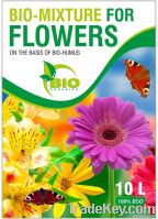 Bio-mixture for flowers on the basis of bio-humus