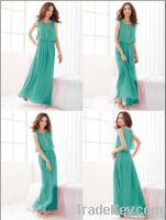 2012 New Women Bohenmia Pleated Wave Lace Strap Princess Chiffon Maxi