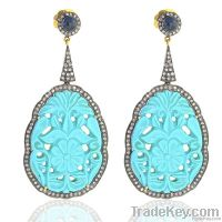 18k Gold jewelry, diamond jewelry, stone carving earrings