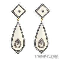14K Gold, Diamond Jewelry studded on Silver, Drop Earring