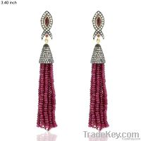 18k Gold Gemstone Ruby Tassels Earring Jewelry