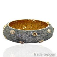 Pave Diamond 14k Gold Bangle Jewelry