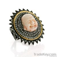 18K Gold, Diamond Pave, Buddha ring studded on silver