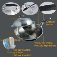 3 layers stainless steel Chinese cookware wok pan