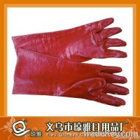 oil-resistant red PVC gloves