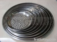 round tray, plate, stainless steel dish