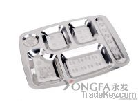 stainless steel trays, dishes, dinnerware