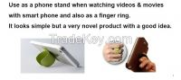 Mobile smartphone stand, finger ring accessory with patent