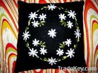 Ribbon embroidery cushion cover