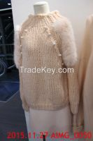 Korean Women Beaded Faux Fur Shoulder Patch Casual Jumper (2 colours)